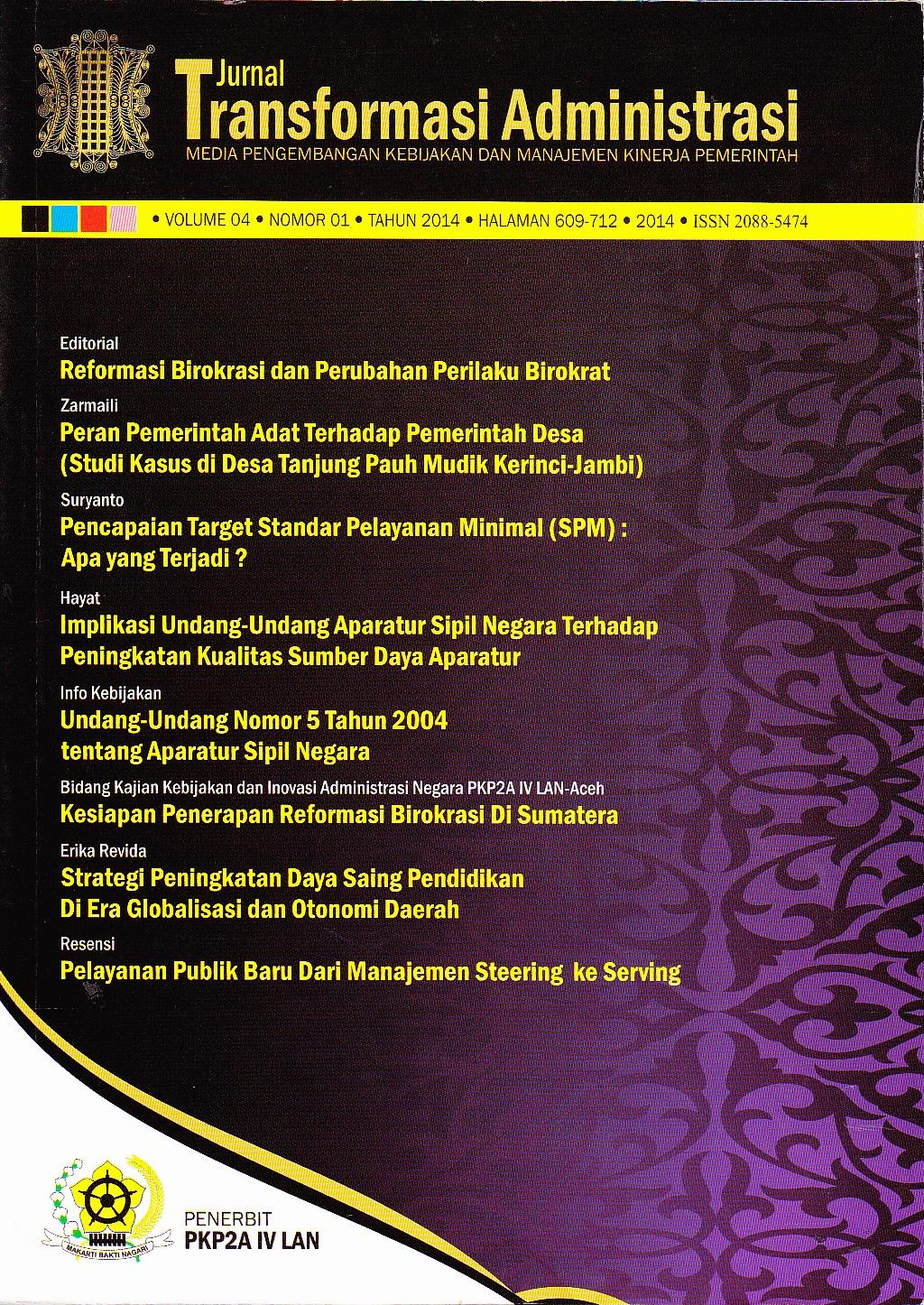Jurnal Transformasi Administrasi Volume 4 Nomor 1 Tahun 2014